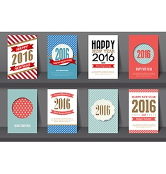 Set of Happy New Year brochures in vintage style vector image vector image