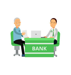 smiling bank employee advises client old man and vector image
