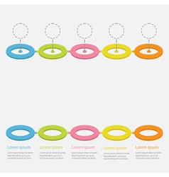 Timeline infographic colorful circles dash vector