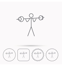 Weightlifting icon Heavy fitness sign vector image