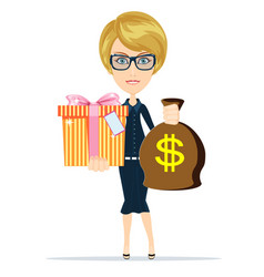Woman holding a money bag and gift box vector