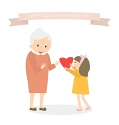 Granddaughter gives heart to grandmother Happy vector image