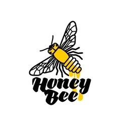 Hand-drawn bee logo for honey products vector