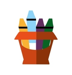Crayons box isolated icon vector