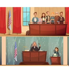 Law courtroom 2 vintage banners set vector