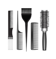 Set of grooming hair brush comb professional tools vector