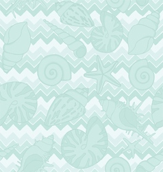 Seamless zigzags and seashells vector