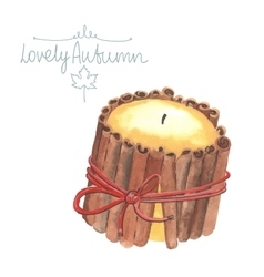 Watercolor cozy candles vector