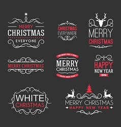 Christmas and new year decoration set of design vector