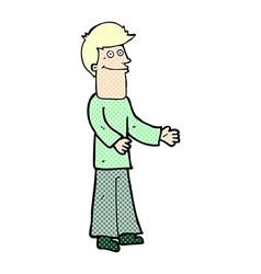 Comic cartoon man shrugging shoulders vector