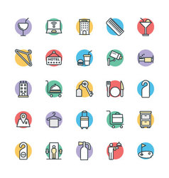 Hotel and restaurant cool icons 3 vector