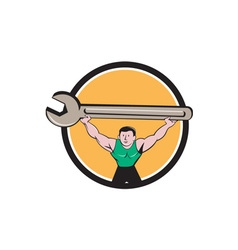 Mechanic lifting giant spanner wrench circle vector