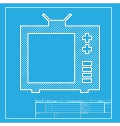 Tv sign  white section of icon on vector