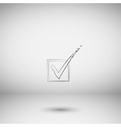 Flat paper cut style icon of check box vector