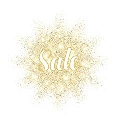 Golden sand splash sale label on white background vector