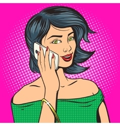 Beautiful young woman with phone pop art vector image vector image