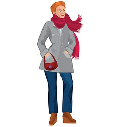 Cartoon young woman in red scarf and gray coat vector