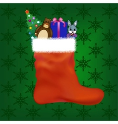Christmas stocking with gifts and toys vector