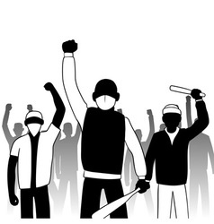 Combative protesters vector