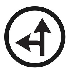 compulsory ahead or left sign line icon vector image