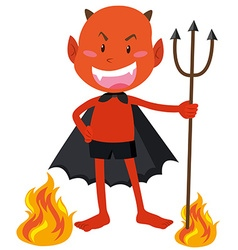 Devil with horns holding trident vector image