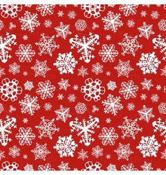 Different modern snowflakes on red background vector image