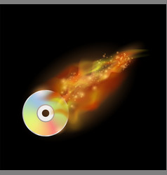 digital burning compact disc with fire and flame vector image vector image