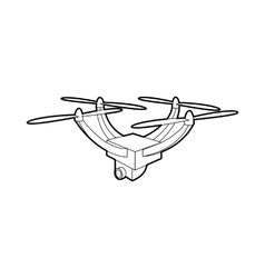 Drone with camera icon outline style vector image