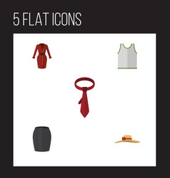 Flat dress set of elegant headgear cravat vector