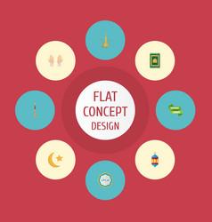 flat icons prayer carpet islamic lamp pitcher vector image