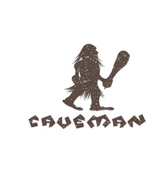 Grunge caveman with a cudgel in his hands vector