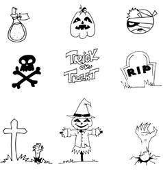 Halloween pumpkins scarecrow tomb in doodle vector