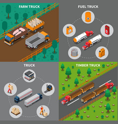 Heavy automotive vehicles isometric concept vector