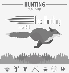 Hunting logo and badge template Flat design vector image vector image