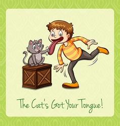 Idiom cat got your tongue vector image