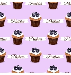 Pastries blueberry cupcakes vector