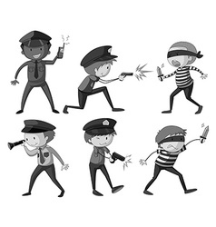 Police and thieves in black and white vector