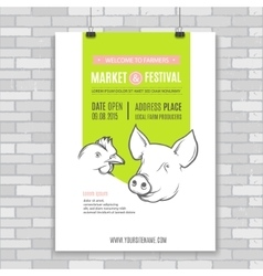 Poster design template with pig and chicken vector image vector image