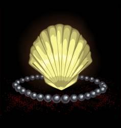 Precious seashell with black pearl vector