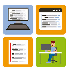program coding set icons web design vector image