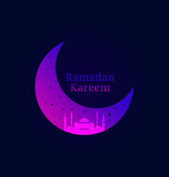 Ramadan kareem mosque and a crescent stars vector