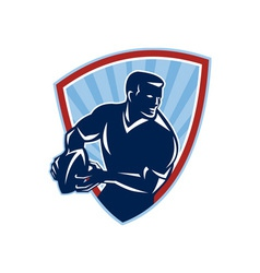 Rugby player passing ball shield retro vector
