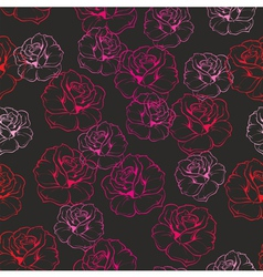Seamless dark floral pattern with pink red roses vector image vector image