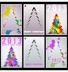 Set Christmas tree applique background vector image vector image