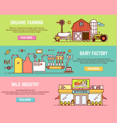 set of milk process horizontal banners in vector image vector image
