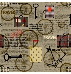 Travel newspaper background vector image vector image