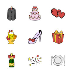 Wedding holiday icons set cartoon style vector