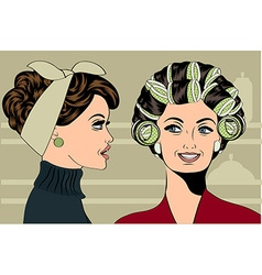 Woman with curlers in their hair talking with her vector