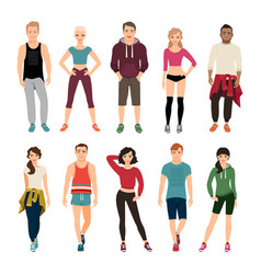 yound people in sport outfits vector image vector image