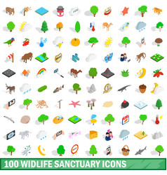 100 widlife sanctuary icons set isometric style vector image vector image